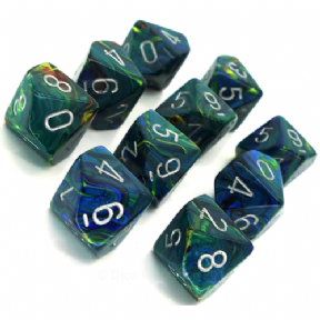 Green & Silver Festive D10 Ten Sided Dice Set